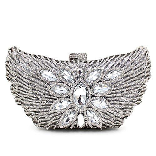 Abendbeutel der europäischen und amerikanischen Stil Schmetterling bohren voll Handtasche Leiter Kuriertasche mit 5 Farben Silver