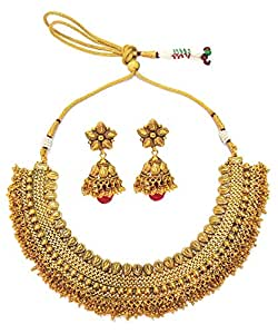 Satyam Jewellery Nx Traditional Gold Palted Bridal Necklace Women Jewellery