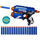 WISHKEY Blaze Storm Manual Soft Bullet Shooting Gun Toy with 20 Safe Foam Bullets for Kids (Multicolour)