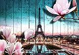 Fototapete Holz Blüten Paris Eiffelturm XL 350 x 245 cm - 7 Teile Vlies Tapete Wandtapete - Moderne Vliestapete - Wandbilder - Design Wanddeko - Wand Dekoration wandmotiv24
