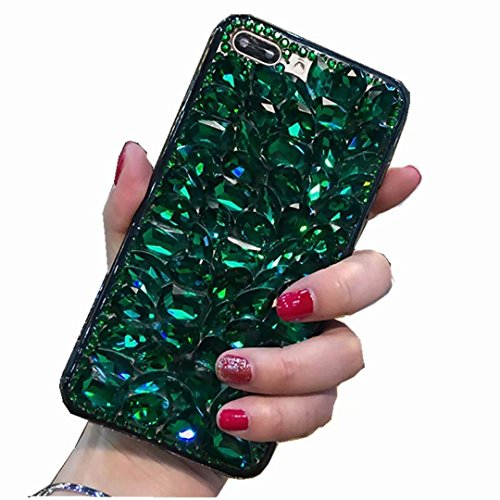 Miagon Glänzend Hülle für Samsung Galaxy A20e,3D Handschlaufe Glitzer Bling Strass Hülle Diamant Transparent Handyhülle Bumper Case Tasche Schutzhülle,Grün