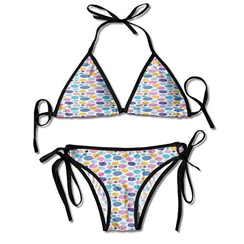 Soft Bikini Two Pieces Sets,Paint Splash Spots Circle Sexy Bikini 2 Pieces