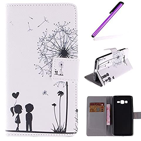 EMAXELERS Pour Samsung Galaxy Grand Prime Coque Housse,Galaxy Grand Prime SM-G530FZ Coque de Protection en Cuir Folio Housse,Galaxy Grand Prime Coque Fleur,Galaxy Grand Prime Coque Fille,Galaxy Grand Prime G530FZ Coque Flip Leather Wallet Protective Cover Case,Galaxy Grand Prime G530FZ Coque Fille PU Cuir Housse Swag Case Cover Coquille Coque pour Samsung Galaxy Grand Prime SM-G530FZ,Dandelion Lover