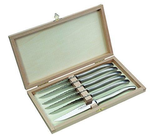 Pataud Fontenille Couteau à Steak Jeu de, Tout métal Boîte en Bois avec 6 Couteaux, Gris, M