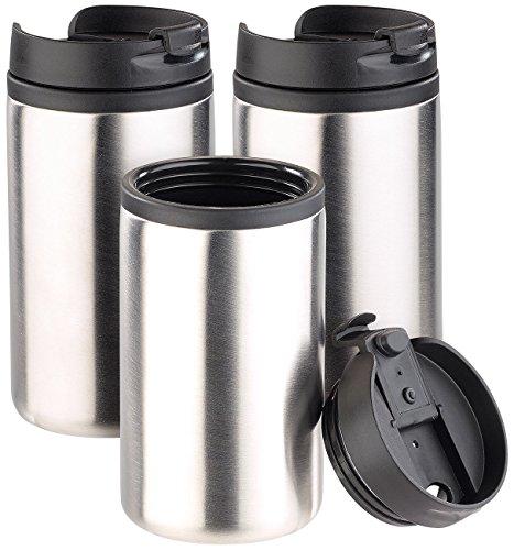 Rosenstein & Söhne Becher: Edelstahl-Isolierbecher für warm & kalt, doppelwandig, 280 ml, 3er-Set (Edelstahl-Thermobecher)
