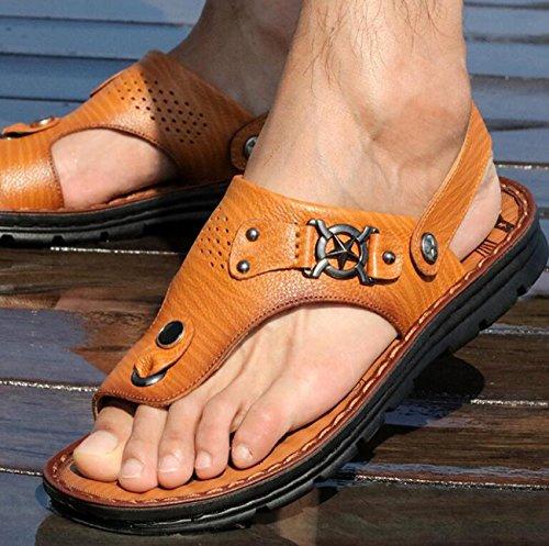 PBXP Dual-Use Männer gesunde Outdoor Leder Sandalen Anti-Rutsch-Pantoffeln Clip Toe Open Toe Einfache Strand Breathable Casual Sandalen 38-44 yellow brown