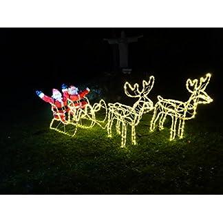XXL-672-LED-Magic-DOPPEL-RentierSchlittenWEIHNACHTSMANN-8-Programme-ca-2-Meter-lang-70-cm-hoch-Premium-Set2-Rentiere2-Schlitten2-Weihnachtsmnner-warmweissIP44ELCHNEUHEIT-2019