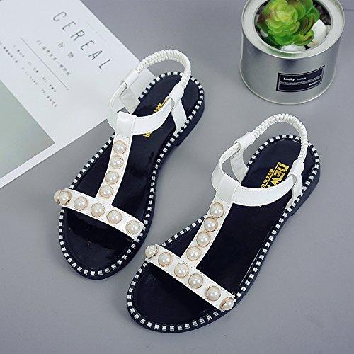 RUGAI-UE Piatto estivo sandali scarpe studente punta piatta di slittamento scarpe alla moda White
