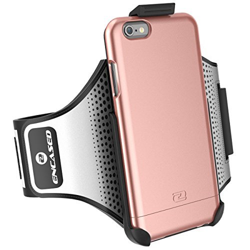 "iPhone 6 Plus 5.5"" Armband & Sport Case (2 pc set, includes) Encased Click-N-Go Arm Band + Hybrid Cover (Metallic Gray) Rose Gold"
