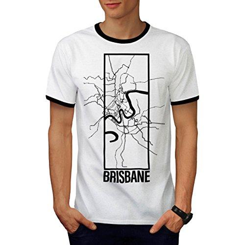 Brisbane Stadt Karte Mode Groß Stadt Karte Herren M Ringer T-shirt | Wellcoda