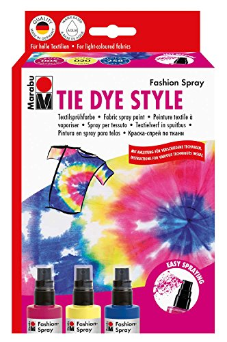 Marabu 1719000000094 - Fashion-Spray Set Tie Dye, Batikeffekte aus der Sprühflasche m. Pumpzerstäuber! 3x100 ml Stofffarbe + Gummiringe f. Abbindetechnik, für helle Stoffe, waschbeständig bis 40°