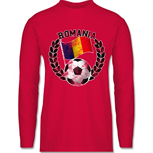 Shirtracer Fußball - Romania Flagge & Fußball Vintage - Herren Langarmshirt Rot