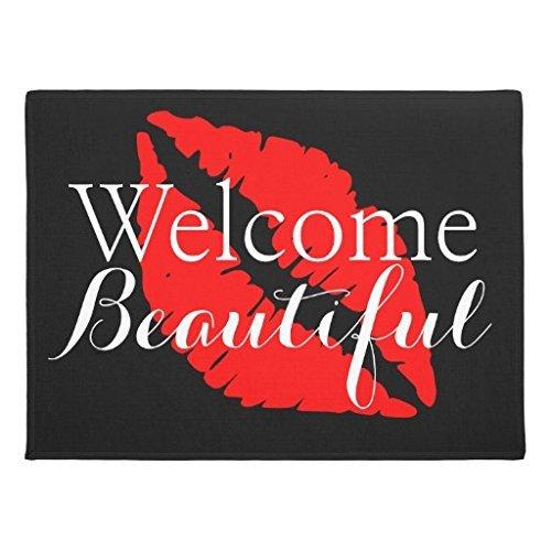 ezon-ch Modern anpassen Fußmatte ENTRANCE Mat Fußmatte Teppich Fußmatte Welcome Schöne Rot Lippen Beauty Salon bedruckt für Ihr Bad Schlafzimmer, Textil, mehrfarbig, 18in x 30in - Regen Mehrfarbige Teppiche