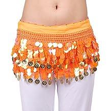 VENI MASEE®–Cinturón de lentejuelas profesional para danza del vientre, con filas de monedas y perlas múltiples, varios colores, unisex, naranja, talla única