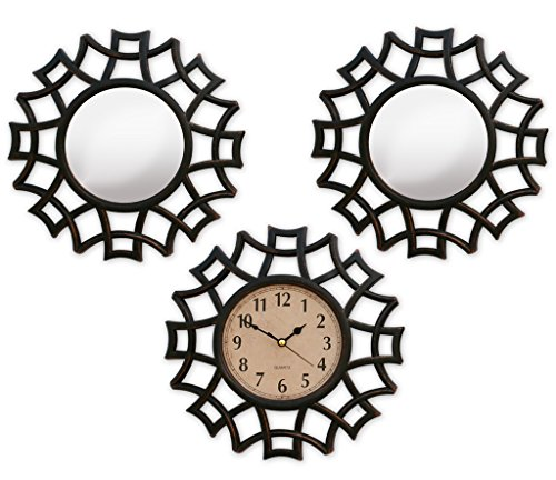 TiedRibbons Decorative Mirrors for Living Room with Wall Clock Set