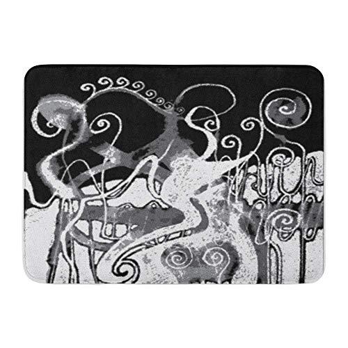 LIS HOME Badteppich Flanell Stoff weich saugfähig Arty of Ink Distressed Swirl-Muster schwarz weiß abstrakt gemütlich dekorative rutschfeste Memory Badezimmer Teppich -