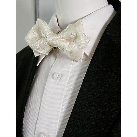 Los hombres blancos sólidos Paisley Pajarita Pre-atado vestido boda boda SilkBlend mezcla ajustable