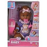 Unbekannt New Born ethnische Babypuppe aus Vinyl, Trink-und Nässfunktion, 30 cm, für Kinder ab 3 Jahren • Funktionspuppe Trinkpuppe Püppchen Baby Puppe Spiel