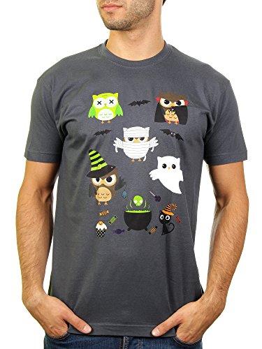 Halloween Owls - Herren T-Shirt von Kater Likoli, Gr. XL, Anthrazit
