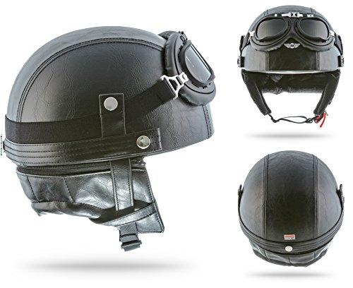 Moto Helmets D22Juego–braincap Media cuencos de casco de moto casco de casco Vespa Roller de casco jet casco de Bobber de scooter Casco Pilot Cruiser Vintage Mofa Chopper Helmet Biker Retro, incluye bolsa de plástico, incluye gafas