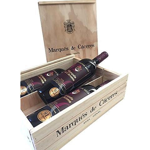Caja de madera 3 botellas - Marqués de Caceres Reserva 2011 - Vino tinto