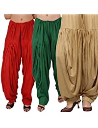 ROOLIUMS ® (Brand Factory Outlet) Punjabi Patiala Salwar Combo 3 - Free Size (Red, Dark Green, Beige)