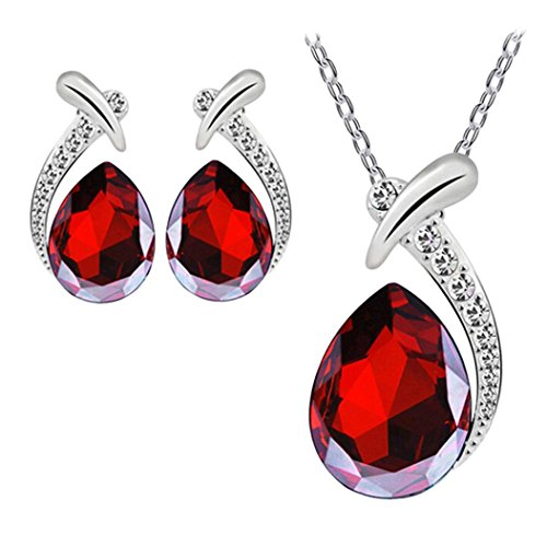 Mujers Pendientes Collar,Xinan Crystal Plateado Plata Collars de Cadena Conjunto de Joyas (Rojo)