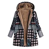 TianWlio Jacken Parka Mäntel Herbst Winter Warme Jacken Strickjacken Damen Mäntel Übergröße Kapuzen Langarm Baumwolle Leinen Flauschigen Fell Zipper Coat Outwear L