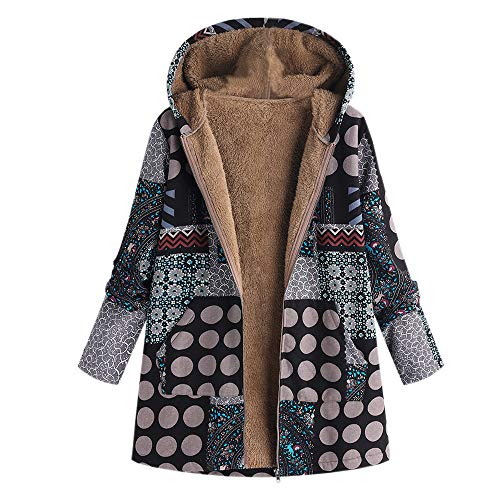 (OIKAY Plus Größe Damen Mit Kapuze Langarm Baumwolle Leinen Flauschigen Pelz Reißverschluss Outwear Mäntel(S4-Schwarz,EU-48/5XL))