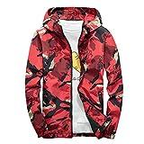 Xmiral Mäntel Herren Mit Kapuze Softshell Camouflage Wasserdichte Winddichte dünne Jacke (4XL,Rot)