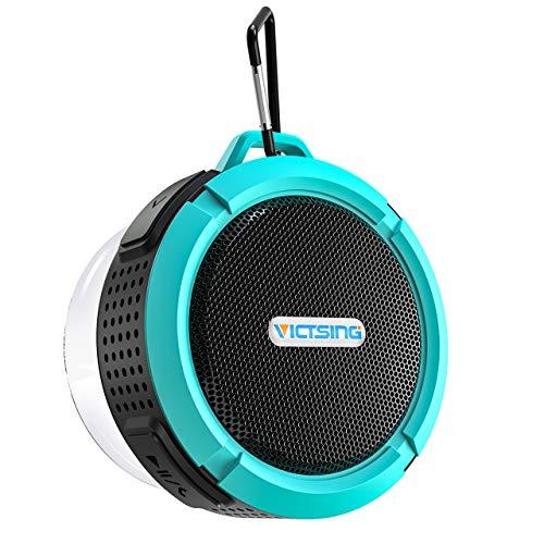 VicTsing C6 Enceinte Radio Douche, Haut-Parleur Bluetooth étanche avec 6H Playtime, Son Lound HD, Haut-Parleur de Douche avec Ventouse et Crochet Solide, Compatible avec iOS, Android, PC, Pad