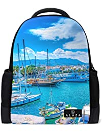 MyDaily Port of Kos Island Greece Backpack 14 Inch Laptop Daypack Bookbag for Travel College School