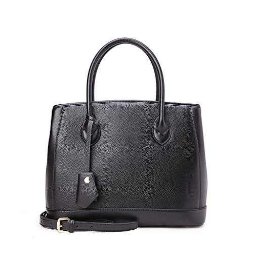 Borsa donna shopping a tracolla in vera pelle Double bag 2 manici DUDU Nero