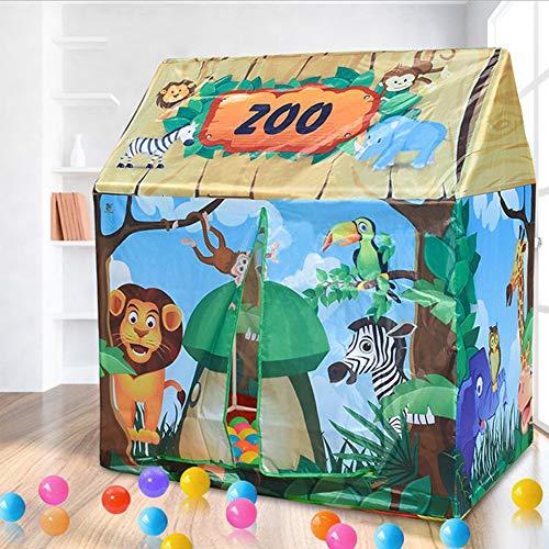 Dream-cool Zelt Haus für Kinder, Spielzelt Kinderzelt Spielhaus Outdoor Baby Zelt Spielzeug Mädchen Prinzessin Zimmer Junge Motto Camping Zelt, Green - Animal House (Camping-zelt Zimmer)