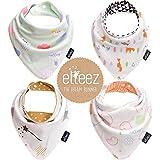 4 Per Baby Dreieckstuch Lätzchen Spucktuch Mit Druckknöpfen Multifunctional durch Elleez-100% Baumwolle - für Jungen & Mädchen - Baby Geschenk Set