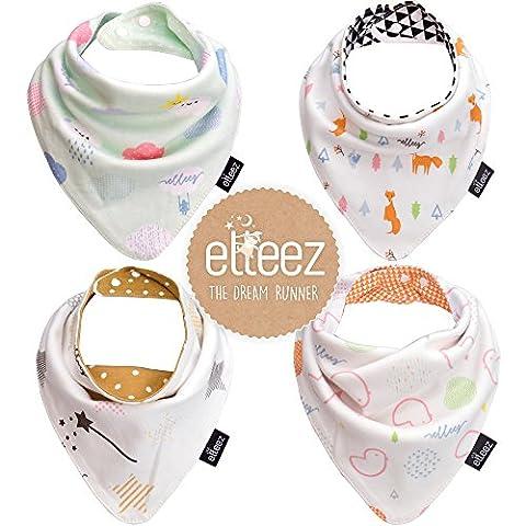 4 Per Baby Dreieckstuch Lätzchen Spucktuch Mit Druckknöpfen Multifunctional durch Elleez-100% Baumwolle - für Jungen & Mädchen - Baby Geschenk Set (Frisches Muster)