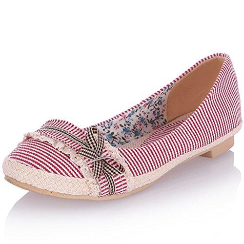 KingRover Women's Soft Fabric Leisure Shoes Lightweight Ballet Comfort Slip On Flat with Bow - Bow Ballerina Flat
