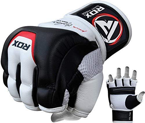 Authentische RDX Kuhhaut Leder Knochen Raufen Handschuhe MMA, UFC, Boxen NHB, schwarz, Gr. ()