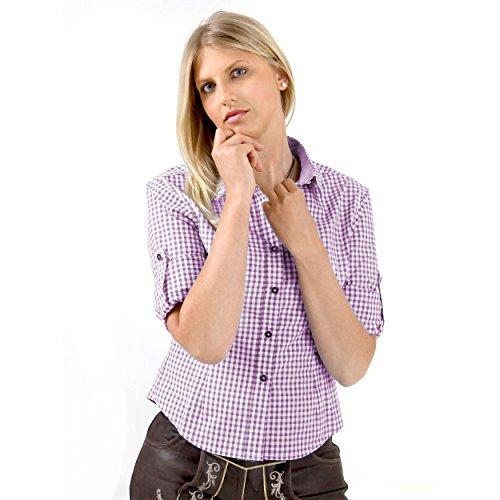 Almbock Trachten-Bluse Damen kariert oder weiß   Viele Modelle von Größe 34-44 in rot, dunkelblau, lila, beere, grün, pink (46, Lila)