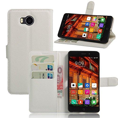 Tasche für Elephone P9000 Lite Hülle, Ycloud PU Ledertasche Flip Cover Wallet Case Handyhülle mit Stand Function Credit Card Slots Bookstyle Purse Design weiß