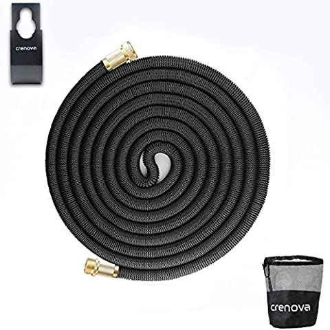 Crenova 100ft Expandable Hose Garden Hose with Double Latex Core, Solid Brass Connector and Extra Strength Textile for Garden Watering and Car