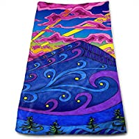 ewtretr Toallas De Mano,Psychedelic Trippy Pattern Microfiber Beach Towel Large 11.8