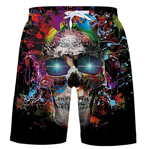 Funnycokid Kinder Schwimmen Bademode Sommer Schnelltrocknend Elastic Farbe Schädel Sweatpants Shorts Jungen Strandwear Short