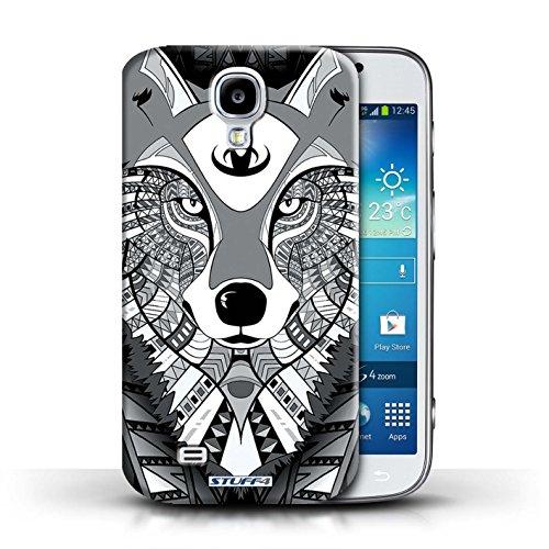 Coque en plastique pour Samsung Galaxy S4/SIV Collection Motif Animaux Aztec - Tigre-Mono Loup-Mono