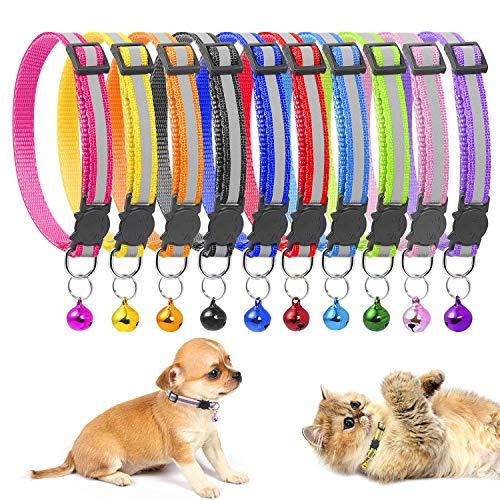 MOOKLIN Reflektierend Katzenhalsband mit Glocke, Katzen-Halsband Nylon, Verstellbar 19-32cm, 10er Set für Katzen, Welpen, Kleine Hunde - A (Glocke Halsband Personalisierte Mit Katze)