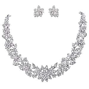 EVER FAITH® Mariage Fleur Feuille Bijoux Parures Claire Cristal Autrichien Ton d'Argent N03335-2