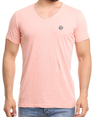 Redbridge Herren T-Shirt Casual V-Neck Basic Shirt Salmon L (Casual T-shirt V-neck)