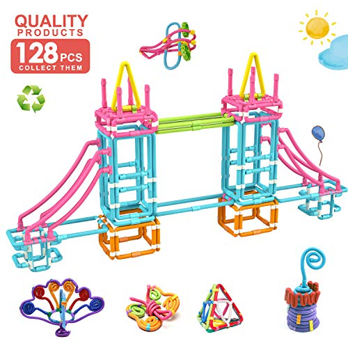 Children Hub 128pcs Creative Construction Toys For Kids - Flexible Sticks - Multiple Ways To Connect
