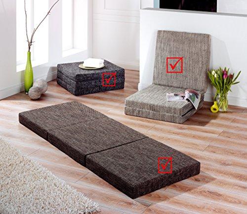 Trend - Colchón plegable para invitados; cama para invitados, color antracita, gris claro y marrón