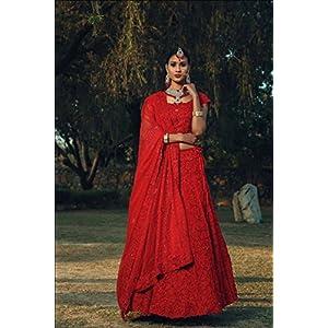 Pushp Paridhan Wedding Wear Machine with hand work Ethnic Wear Hot Red Bridal Lahenga For Women/Girls